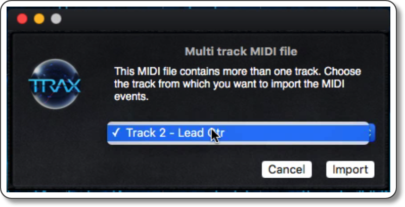 Selecting a specific track from the Multi track MIDI file import dialog.