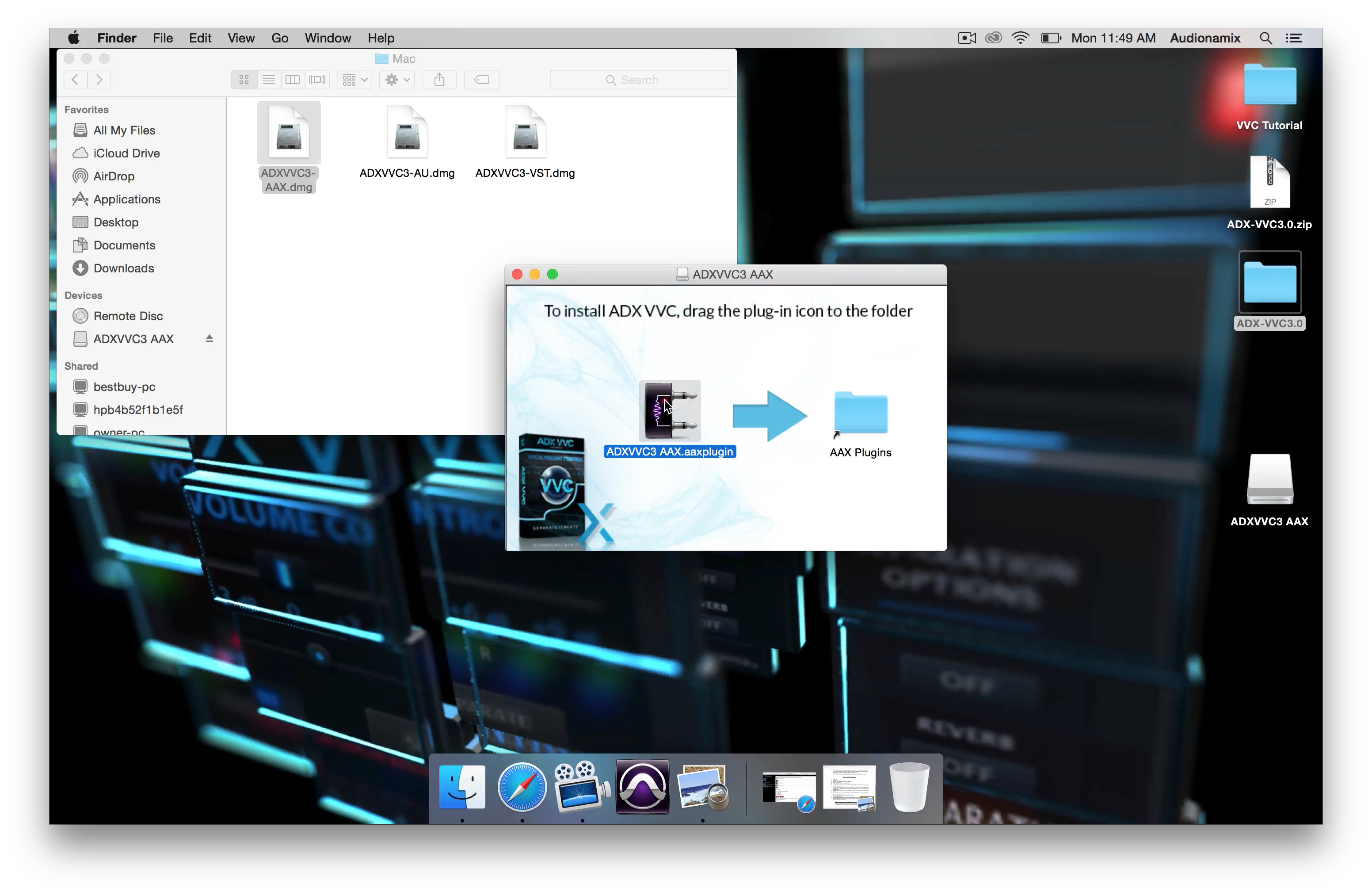 Installing ADX VVC AAX on a Mac System